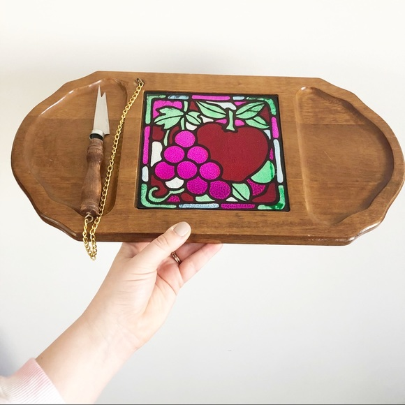Vintage Retro Wood Foil Cheese Party Serving Tray
